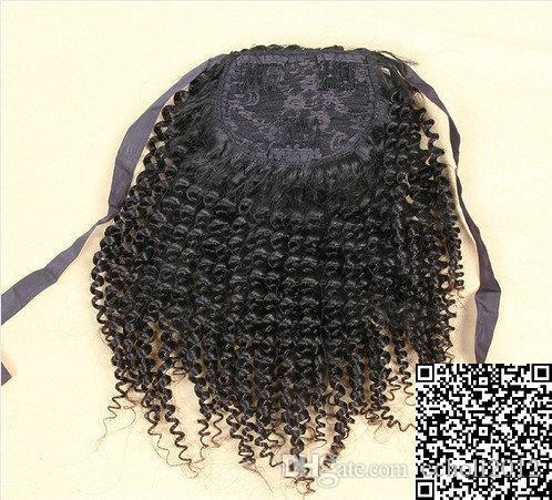 120g Kinky Curly Poundtail Extensions de cheveux Clip in Real Trailer Brésilien Cheveux Ponytail Afro Kinky Curly bouffée naturelle livraison gratuite