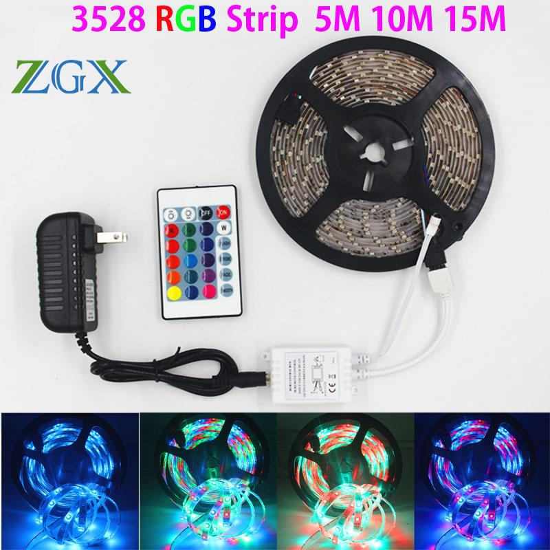 Zgx Smd 3528 5m 10m 15m 300led Rgb Led Strip Light Waterproof Outdoor  Lighting Multicolor Tape Ribbon 24keys Dc12v Adapter Set Led Strips 12v  Flexible Led ...