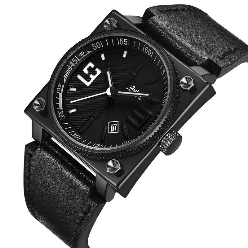 Compre Oulm Fashion Casual Reloj De Pulsera Nuevo Diseño Square Dial Correa  De Cuero Genuino Hombres Relojes Negro Deporte Reloj De Cuarzo Masculino A  ... 804dbbbeb08c