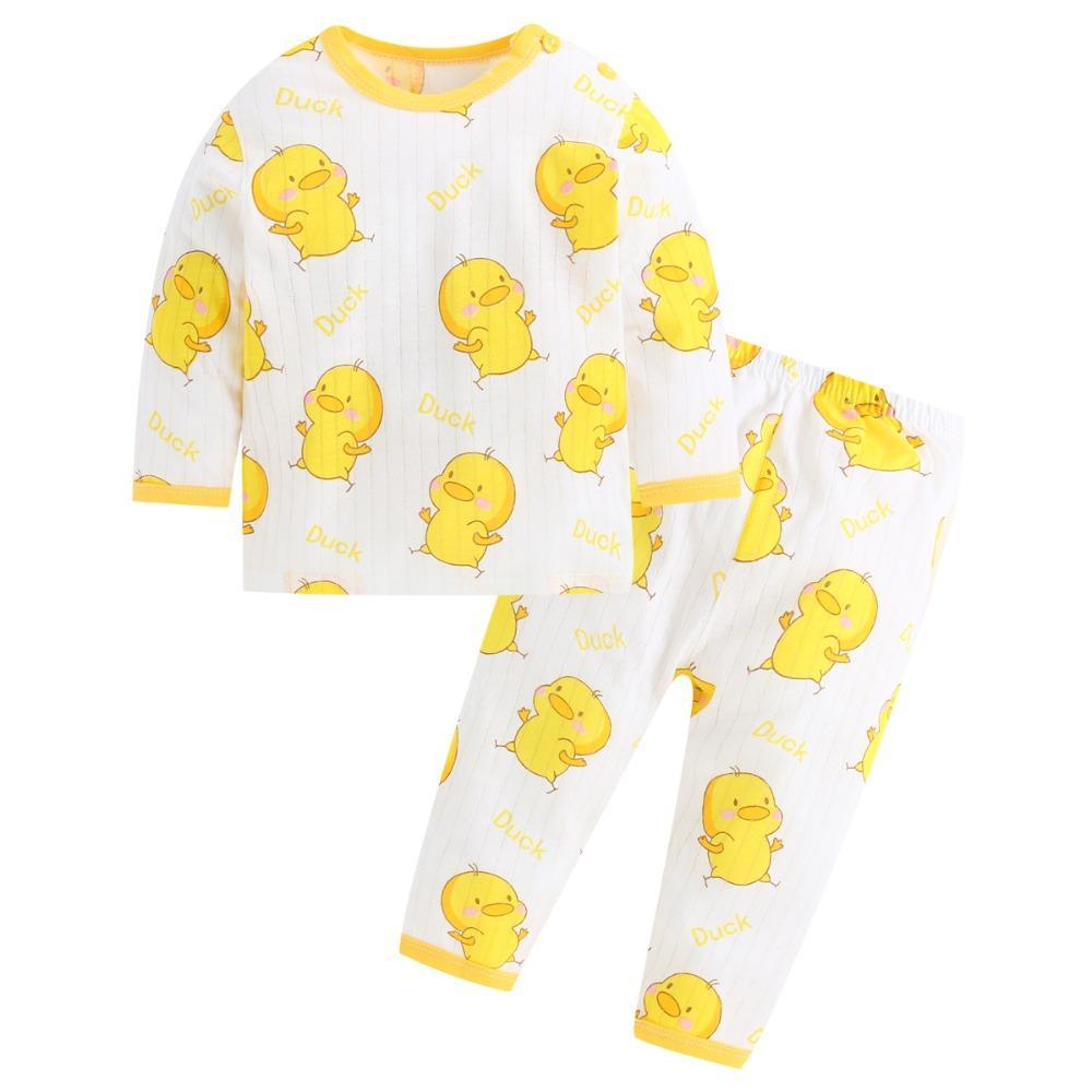 9a5d04e34 2019 Baby Boy Sleepwear Cute Duck Print Nightwear Breathable Mesh ...