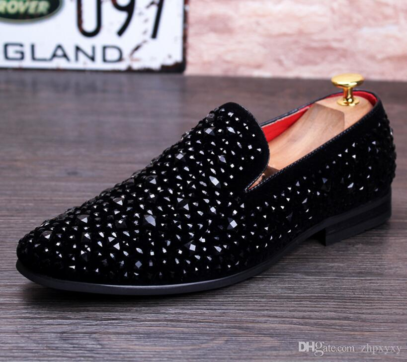 Повседневный Разноцветный Блеск Блесток Мокасины Мужские Туфли Мужчины Квартиры Обувь Роскошный Модный Бренд Chaussures De Mariage