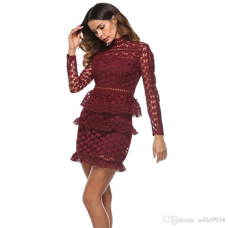 Acquista Abito Corto Elegante In Pizzo Increspato Abito Corto Sexy Vintage  Manica Lunga Donna Abiti Sexy Da Festa Di Natale Vestidos A  28.34 Dal  Sofie9934 ... af1a22bd5eb
