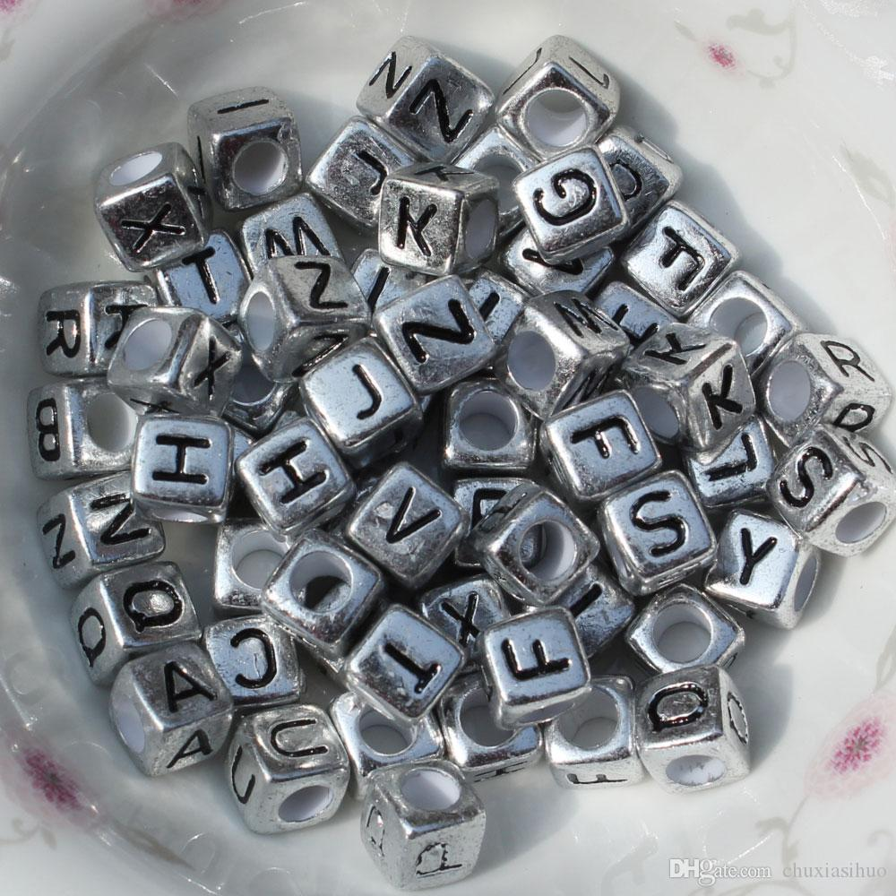 2019 Metal Plating Alphabet Letter A Z Cube Beads Size 6*6 Mm For