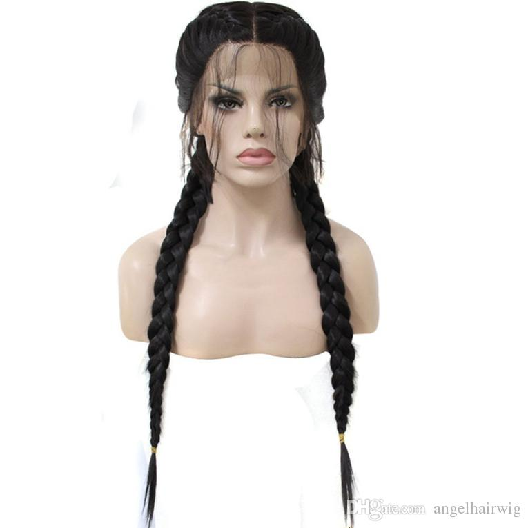 Double Braids Black Synthetic Braided Lace Front Wigs Long Straight with Baby Hair Heat Resistant Cosplay Braided Wigs for Black Women