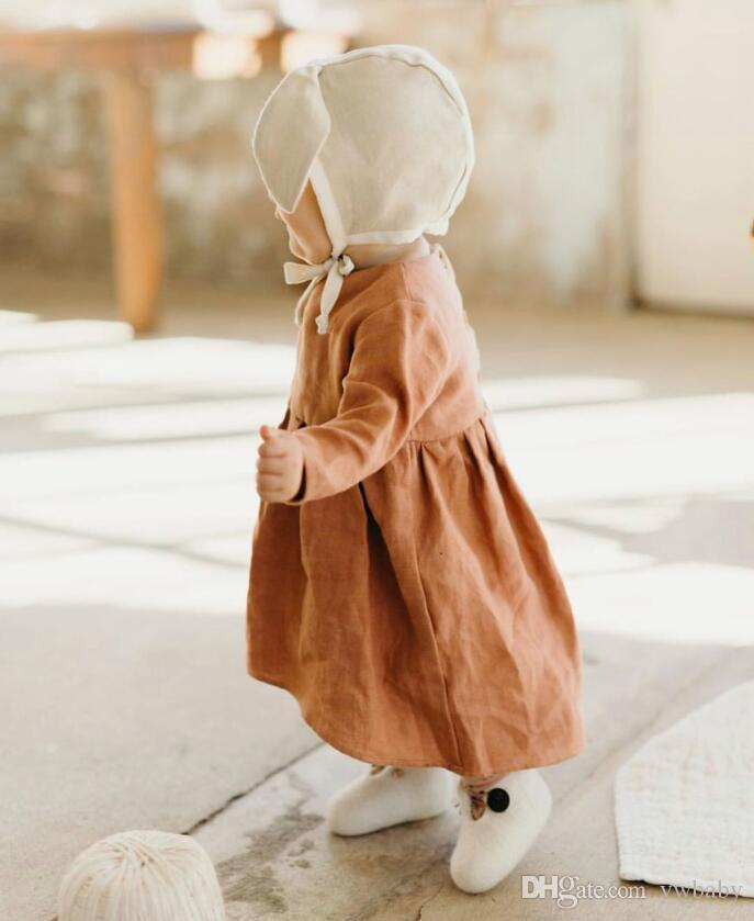 7c06dcfd823e 2019 Girls Cotton Linen Dresses Kids Clothing Fashion Long Sleeve Dress  Baby Girl Clothes Autumn Casual Dress Girl Clothing From Ywbaby
