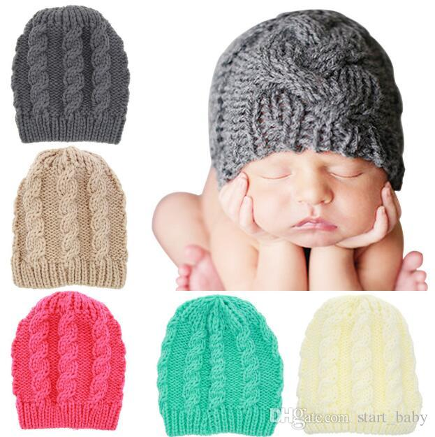 6ca1a3b5 2019 Newborn Knit Beanie Hats Baby Boy Girls Wool Crochet Caps Toddler Kid  Cotton Wraps Infant Unisex Hair Accessories Photography Bonnet B11 From ...