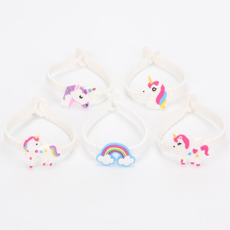 100 adet / grup unicorn kauçuk bileklik bilezik unicorn parti tema çocuklar için dekorasyon şenlikli parti malzemeleri festivali bileklik