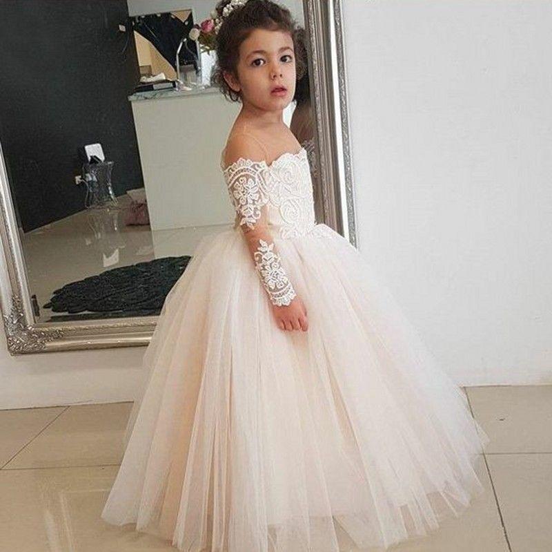 Lange Hülsen-Blumen-Mädchen kleidet für Hochzeiten weg von der Schulter Appliques-Spitze Tulle-Boden-Längen-Kind-Kindergeburtstagsfeier-Kleider