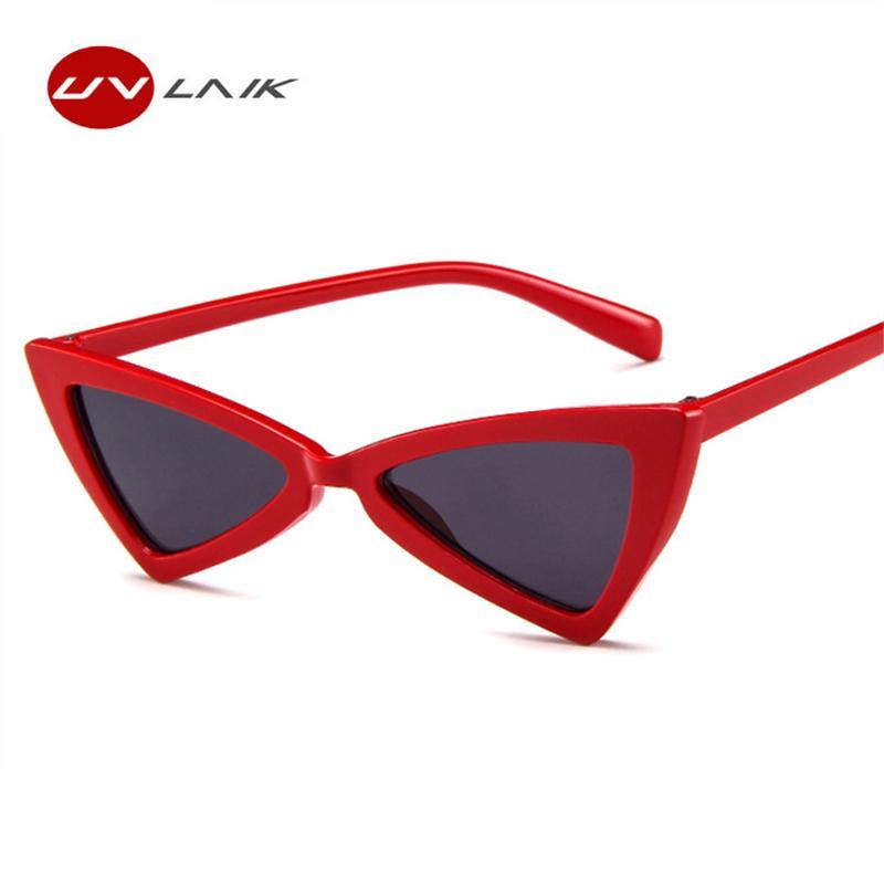 Compre UVLAIK Triângulo Do Vintage Óculos De Sol Das Mulheres Olho De Gato  Vermelho Óculos De Sol Feminino Retro Borboleta Gato Óculos Senhoras Marca  ... 599223e9af