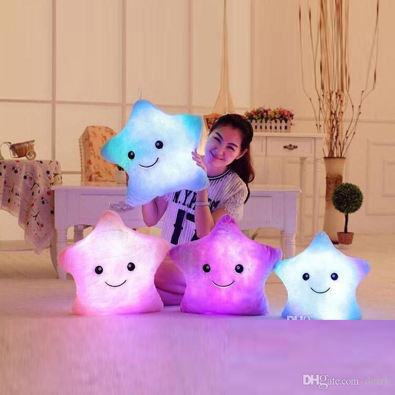 Красочный светодиодные вспышки света пять звезд куклы Мягкие игрушки Фаршированные игрушки Размер 40см освещение подарков Дети Рождественский подарок Фаршированные Плюшевые игрушки