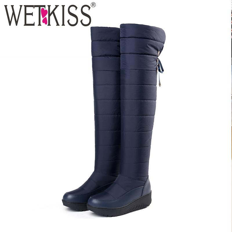 24a832186de WETKISS New Cross Tied Snow Boots Women Platform Boot Knee High Winter Warm  Footwear Cleated Fashion Ladies Shoes Big Size 35-44