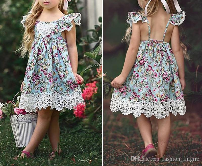 fec2ac508a21 INS Hot Sale 2018 New Flower Lace Dress Princess Kids Baby Girls ...