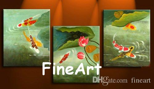 2018 Hand Painted Oil Wall Art Koi Fish Canvas Painting Modern Art ...