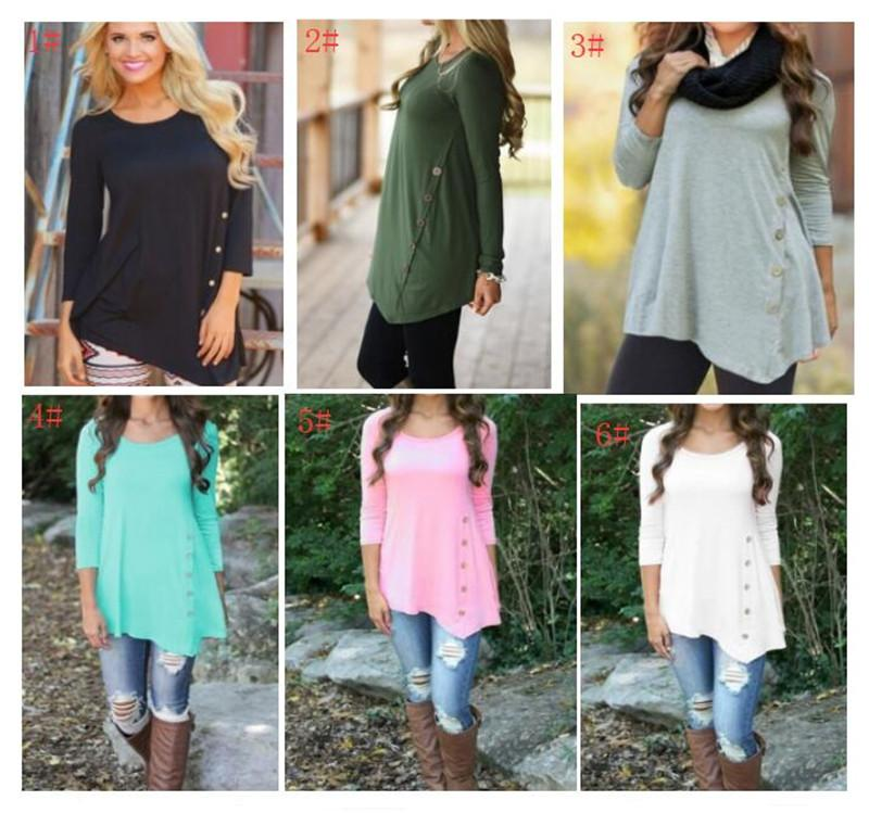 fe096a5f86606 Women Sweatshirt Irregular Long Sleeve Side Decor Buttons Tee Blouse ...