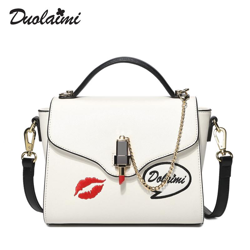 Duolaimi 2018 Women Bag Casual High Quality Handbags White Flower Fashion  Crossbody Bag Leather Bags For Men Evening Bags From Redvelvett