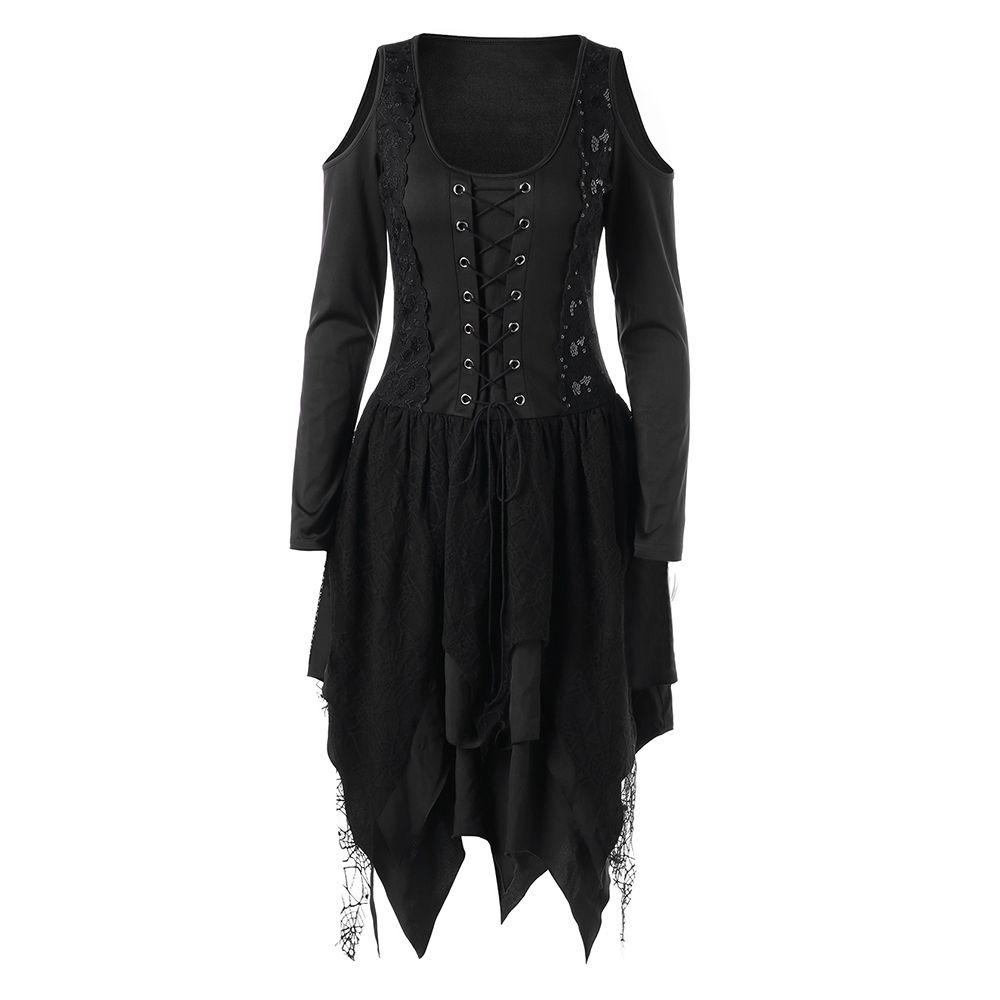 6d3079e10a9 Acheter 2018 Femmes Casual Robe Gothique Casual Femmes Automne Hiver Robe  Asymétrique À Manches Longues Rouge Goth Noir Robes Dentelle Dames De   40.62 Du ...