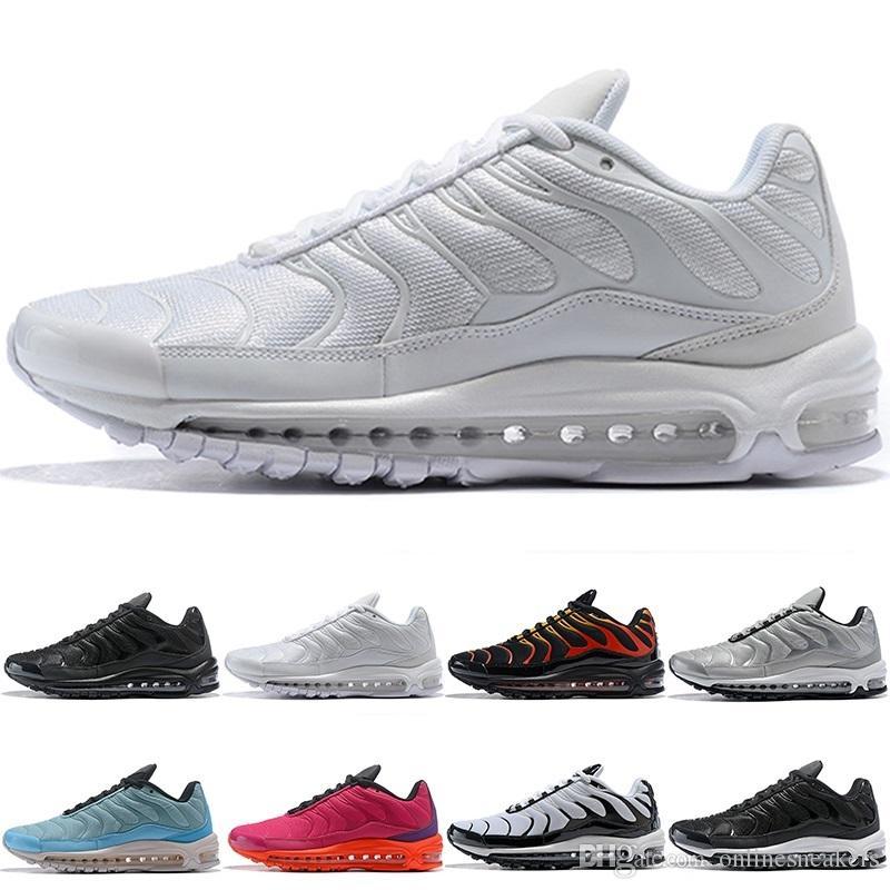 39eefdc8e2 Compre Nike Air Max 97 Plus Airmax 97 Plus Running Shoes Homens Mulheres  Triplo Branco Preto Prata Ouro Bala Azul Marinho Vermelho Fogo Barato  Esportes ...