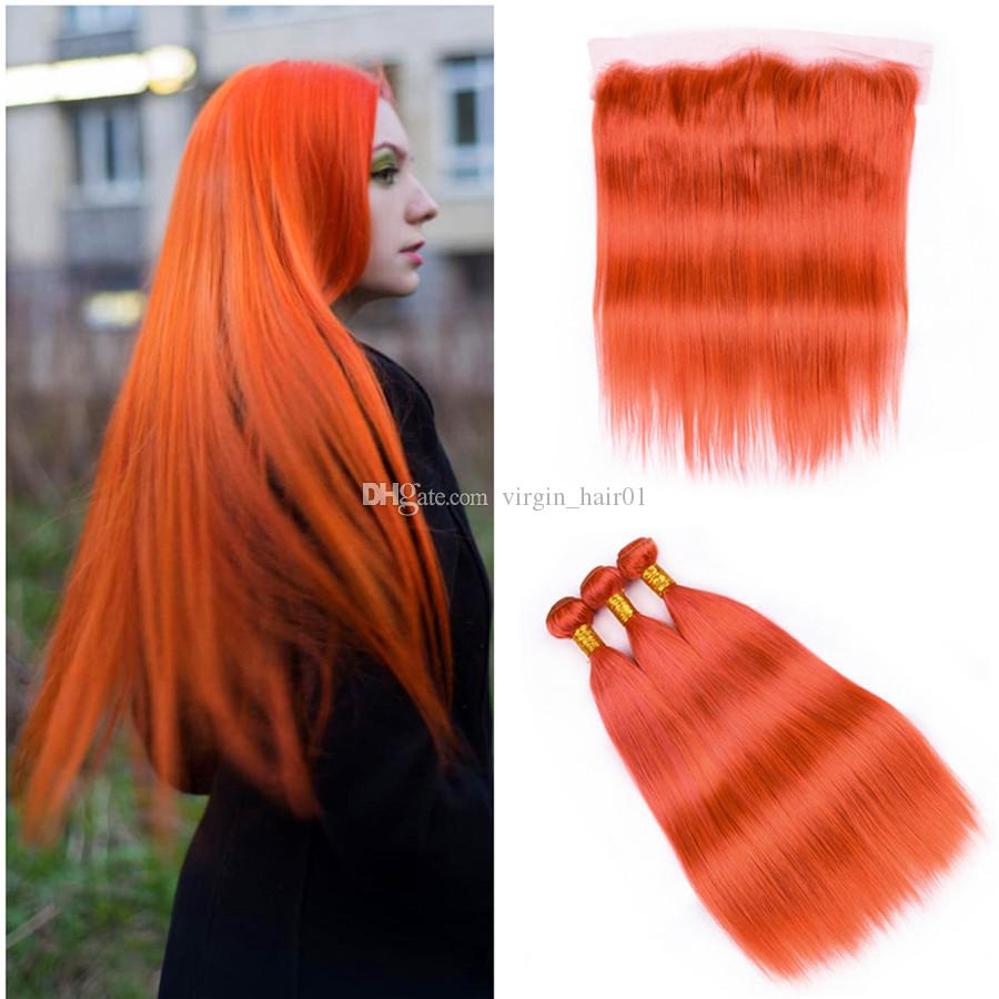 Orange Hair Extensions Human Hair 3Pcs With 13x4 Lace Frontal Closure Russian Human Virgin Straight Hair Weave With Lace Frontal Free Ship