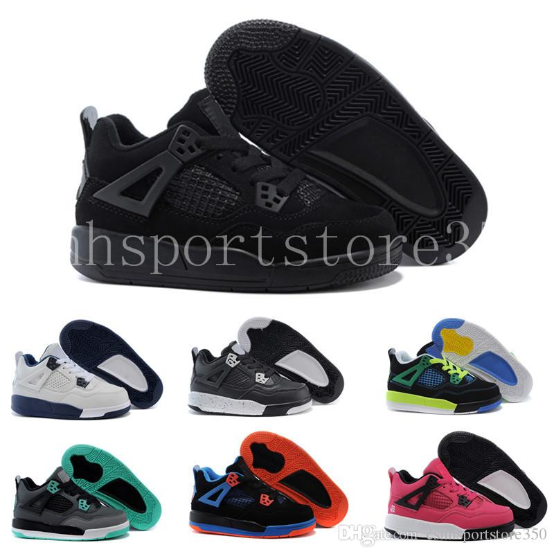 detailed look 4f761 34516 Großhandel Nike Air Jordan 4 Aj4 Retro 2018 Kind Junge 4 All Star Kinder  Frauen Männer Basketball Schuhe Hohe Qualität 4 S Iv Schwarz Weiß Gold  Junge Kinder ...
