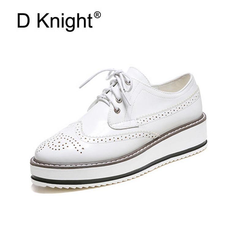 nouvelle plate forme - forme plate oxford des chaussures pour femmes de taille de bullock vintage c6adf3