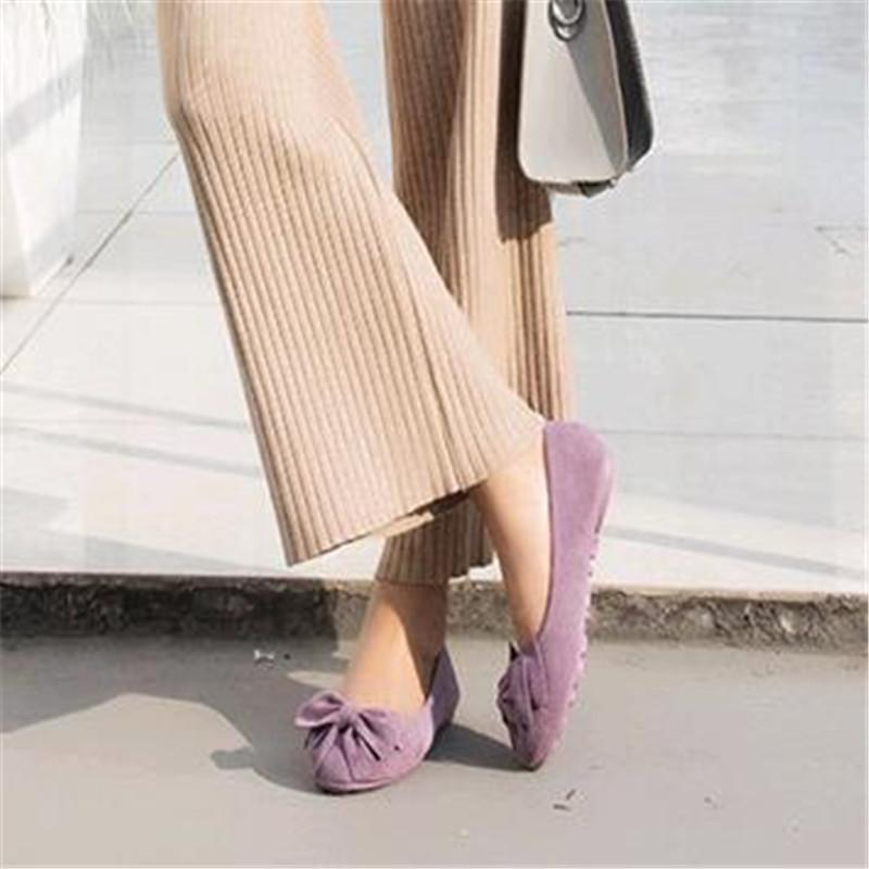 6103393d21c6 2019 Plus Size Leather Flat Shoes Women Bow Ballerina Shoes For Woman Slip  On Shallow Ballet Flats Ladies Loafers Buy Shoes Online Slip On Shoes From  Meledy ...