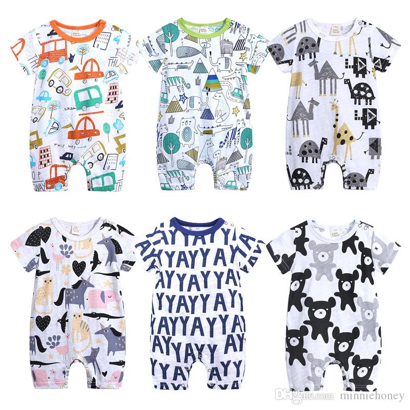 bf781187f 2019 Summer Baby Girl Boy Romper One Pieces Cotton Bow Letter ...