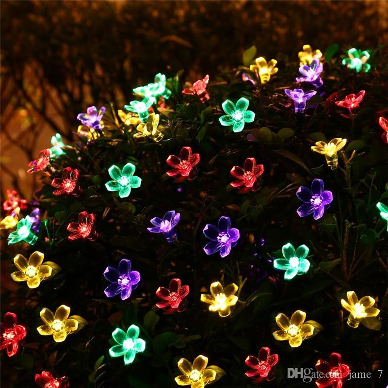 Solar Power Fairy Strip Lights 7M 50 LED Peach Blossom Decorative Garden Lawn Patio Christmas Trees Wedding Party Light