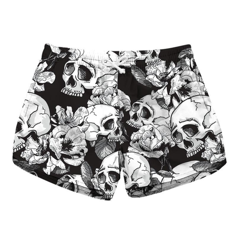 72f45264f8 2019 Women Short Beach Shorts Skull White Flower 3D Full Print Girl Casual  Swimming Shorts Lady Digital Beach Pants Boardshort RLLbp 6023 From  Joybeauty, ...