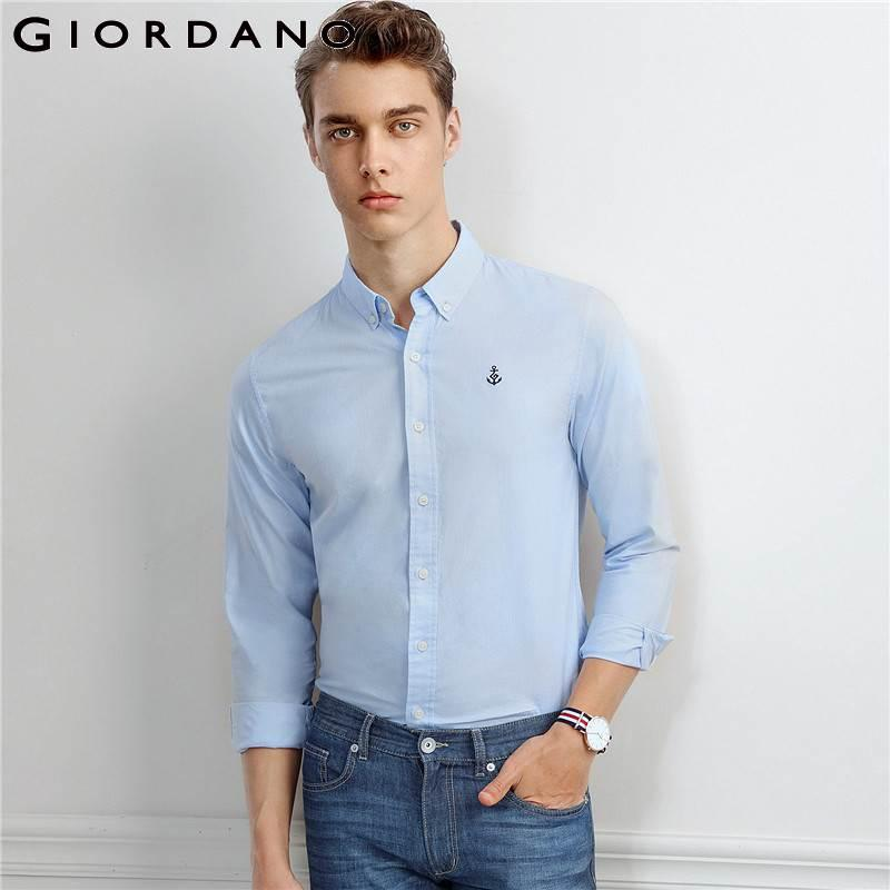 Giordano Men Shirt Oxford Cotton Embroidery Shirts Navy Casual Camisa Masculina Brand Male Shirt Men Quality Chemise Homme