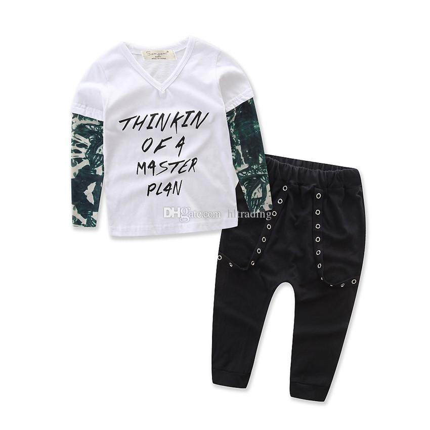 INS Children outfits boys cotton letter Top+pants baby suits 3 styles C2192