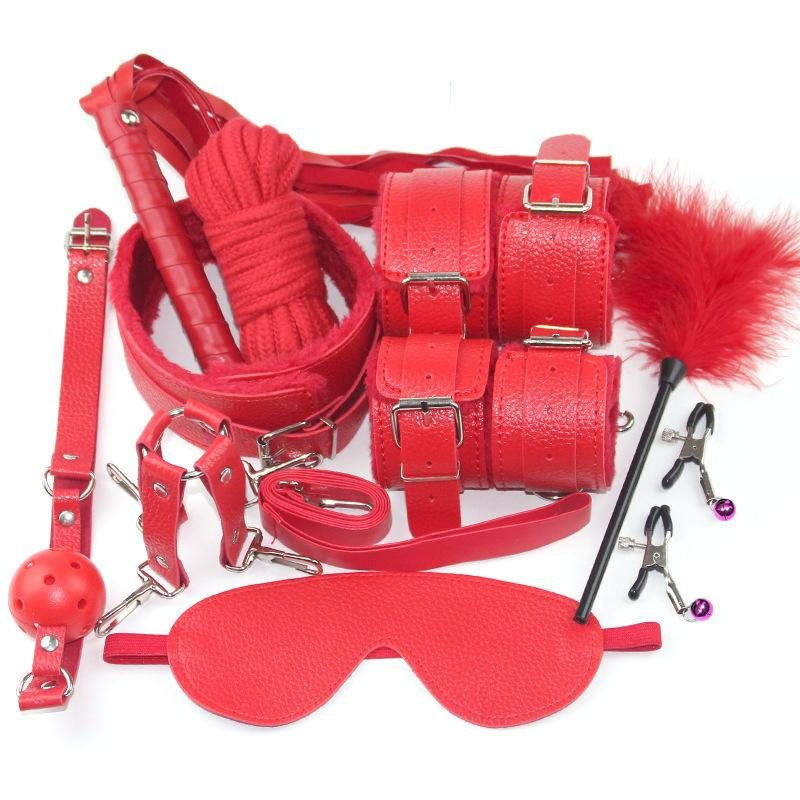 10pc Fetish BDSM Sex Bondage Restraint Kit Games Erotic Accessories for Couples Mask+ Collar + Mouth Gag + Sex s + Whip Y1893001