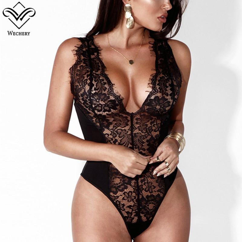 656de71f526 2019 Summer Sexy Lingerie Women Floral Lace Bodysuits Sleeveless Deep V Neck  Slimming Charming Costume Transparent Underwear Teddies From Daylight