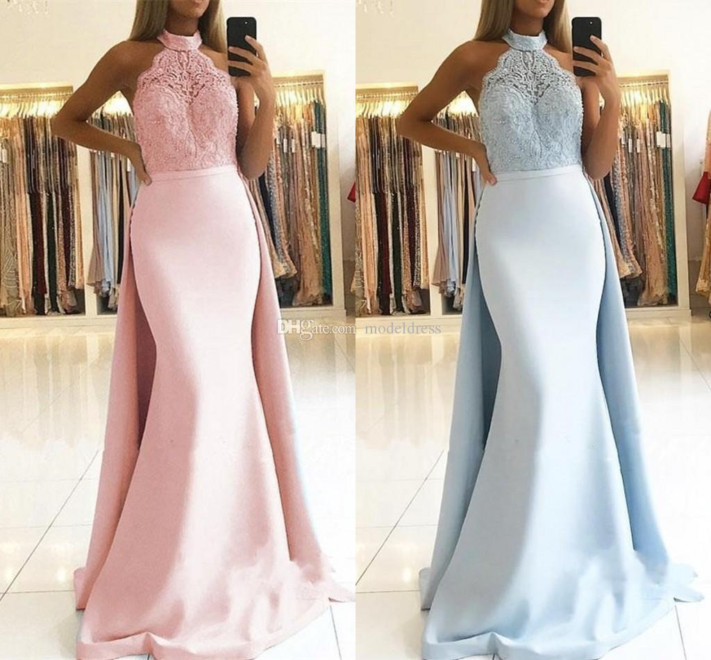 Elegant Mermaid Prom Dresses With Over Train Lace Top Sweep Train