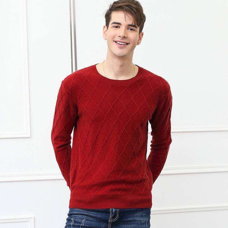New Mens Cashmere Sweater High Grade Round Neckline Sweater Diamond Shaped Long Sleeved Pullover Fashion Sweater Factory Price Direct