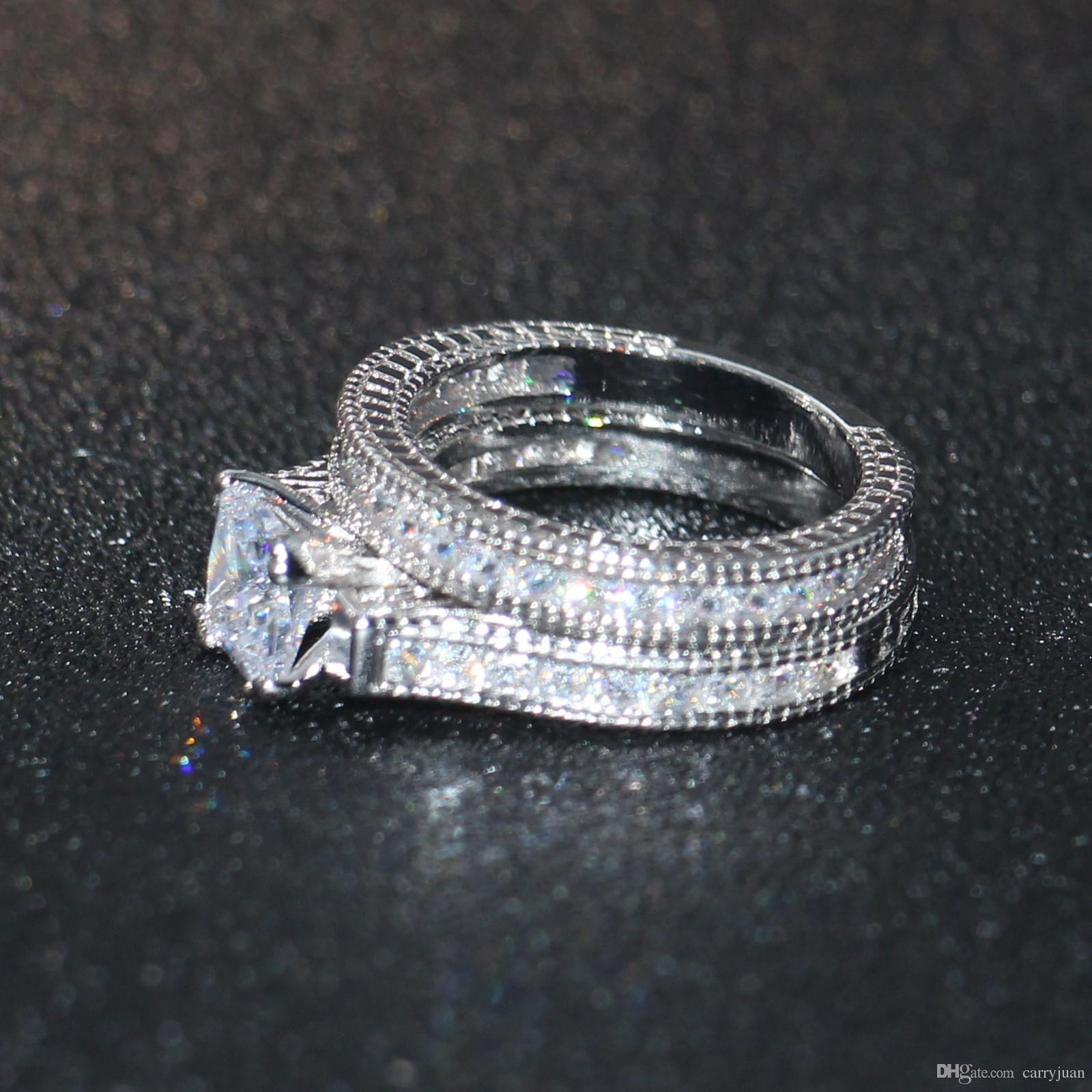 Victoria Wieck Hot Top Selling New Arrival Vintage Fashion Jewelry 14KT White Gold Filled Princess Cut Topaz Gemstones Women Bridal Ring Set