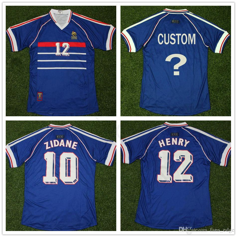 2019 1988 World Cup Classic Vintage France Soccer Jersey 10 ZIDANE 12 HENRY  Adult Custom French Home Blue Football Shirt MAILLOT DE FOOT From  Fans edge 1f9f9a609