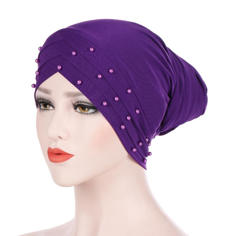 Milk Silk Beaded Long Tail Turban Muslim Stretch Women Headband Bandanas Scarf  Head Wrap Headwear Workout Cap Female Hair Bands Girls Hair Accessories Hair  ... 4788c41d5a