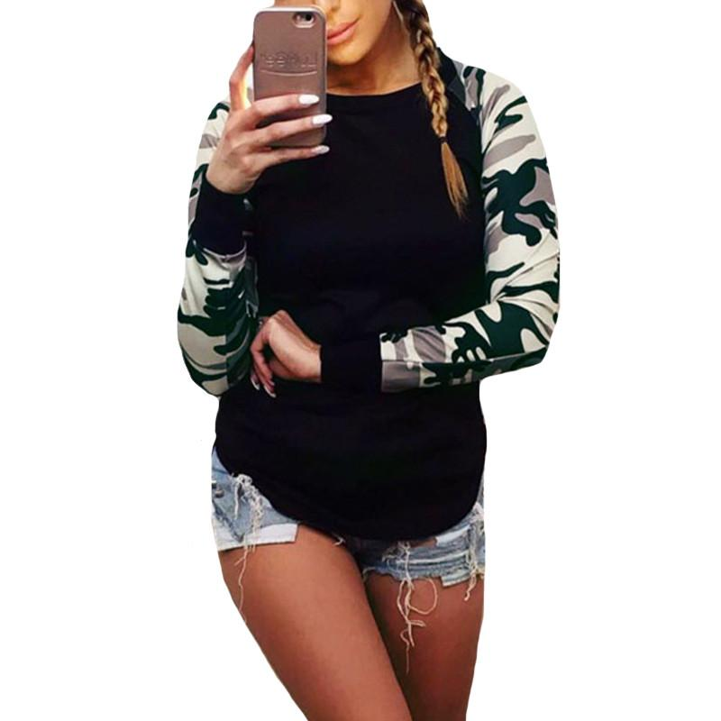 Womens Tee Shirt Spring Autumn Women Camouflage T shirts Casual Ladies Black Long Sleeve Patchwork Print Tops Plus Size S-5XL