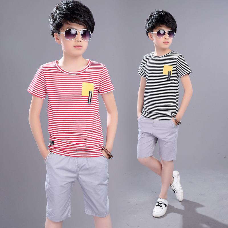 e0a3dd83670b7 Kids Boys Summer New Suit Children Summer Wear In Children's Short Sleeve  +pant Two Piece Clothes Sets 4-12 Ages