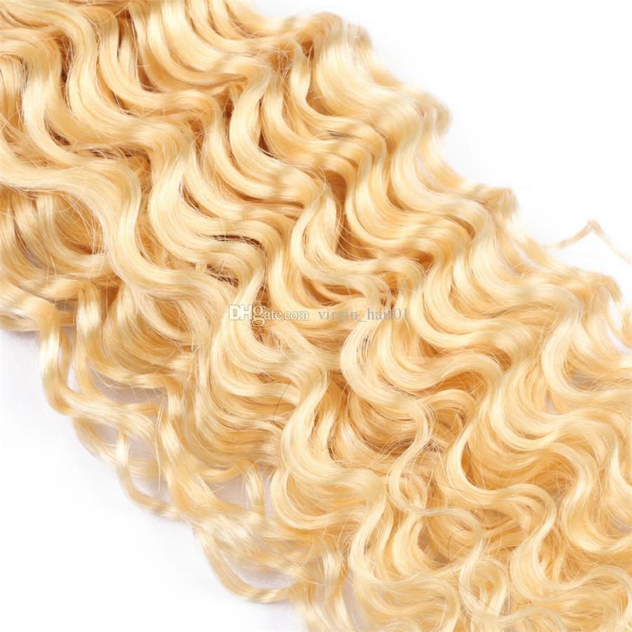 딥 웨이브 플래티넘 금발 머리는 100g / pc 613 번들 도매 원래 인간의 머리카락을 엮어 냈다 딥 웨이브 헤어 Wefts 파격 세일