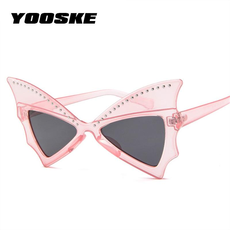 e419be13ff7 YOOSKE Fashion Oversize Sunglasses Women Bat Sharp Shades Sun Glasses Rivet  Big Frame Sunglass Personality Dance Party Glasses Designer Glasses  Sunglasses ...
