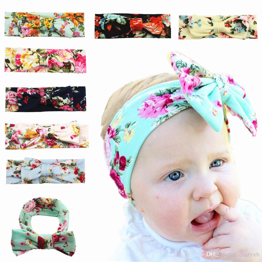 Naturalwell Baby Infant Girls Flower Print Headbands Children Cute Rabbit Ear Headwraps Baby Bow kont hair Accessories HB021