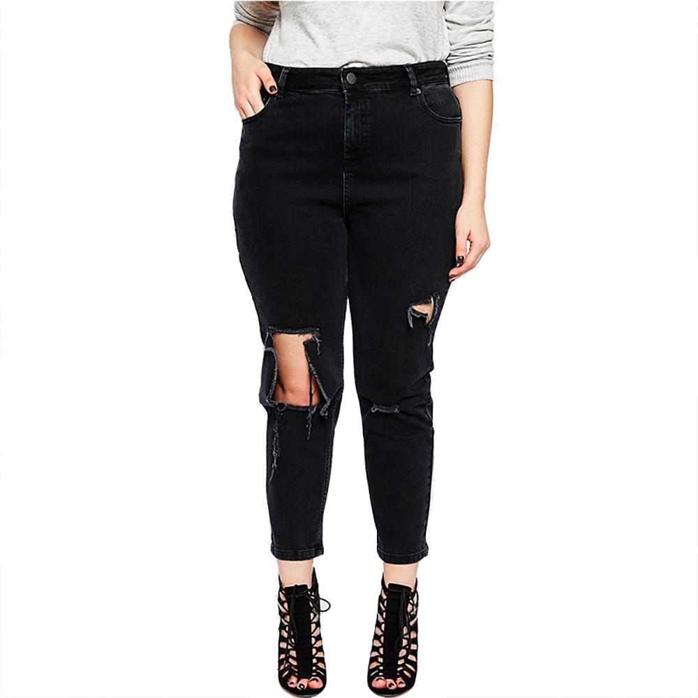 08fe0230 Tallas grandes Pantalones con agujeros rotos Pantalones con cordones negros  Mujeres Pantalones vaqueros sueltos con cintura baja Tallas grandes ...