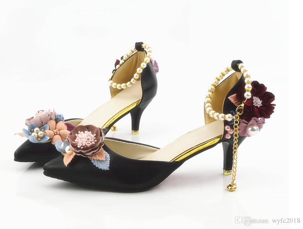 New crystal shoes, pointed sandals, black tea mountain flower bridal shoes, handmade shoes, black high heels.