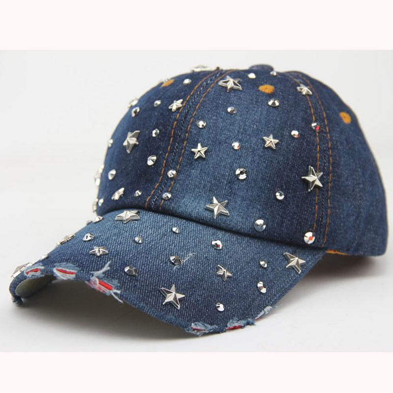 a8b8af6c3b1ac7 Fashion Women Baseball Cap Bling Stars Rhinestone Denim Cap Adjustable  Strap Jean Snapback Hat Distressed Brim Cap Store Custom Fitted Hats From  Gocan, ...