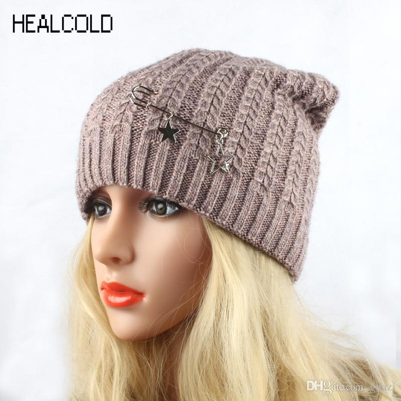 f55bf122e64 HEALCOLD 2017 New Fashion Knitted Hat Women S Winter Wool Cap Female  Beanies Skullies Cool Beanies Beanie Caps From Guazi