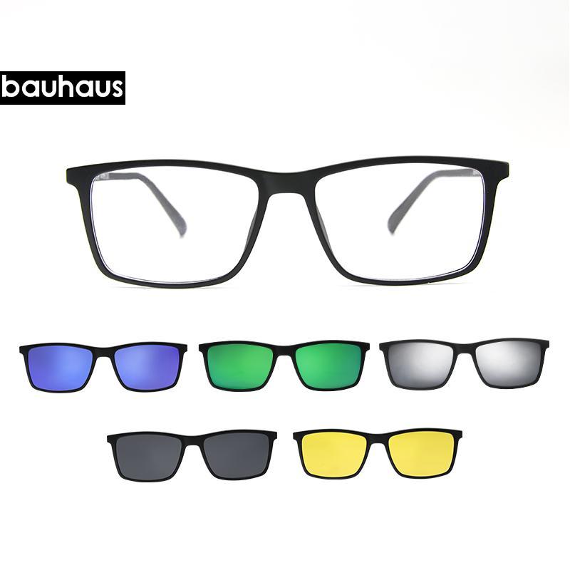 2238a14c96 2019 Bauhaus Brand Designer Polarized Magnet Clip Glasses Men Magnet Frame  Myopia Glasses Prescrioption Optical Sunglasses From Exyingtao