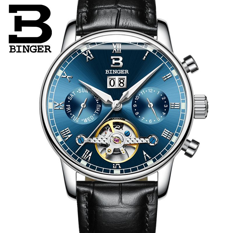 1f08bb3be645 Compre Suiza BINGER Reloj De Caballero Marca De Lujo Tourbillon Fulll Acero  Inoxidable Resistente Al Agua Relojes De Pulsera Mecánicos B 8604 6 S917 A  ...