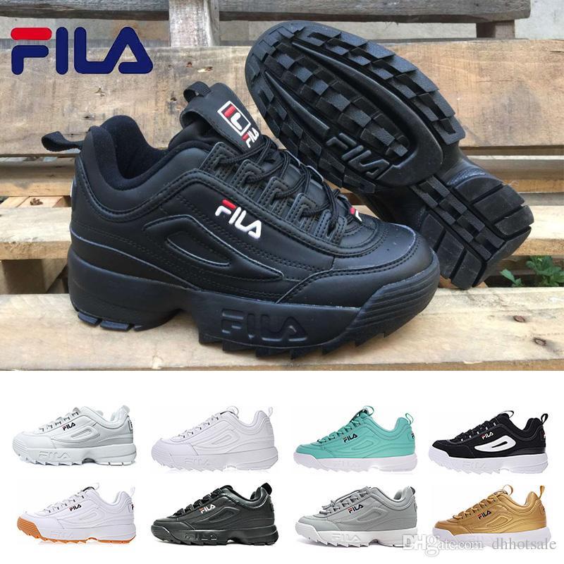 64415d3873 Compre FILA Disruptor 2 II Designer Running Shoes Branco Preto Cinza Gold  Pink Disruptores Originais II 2 Mulheres Homens Sapatos Clássicos  Caminhadas ...