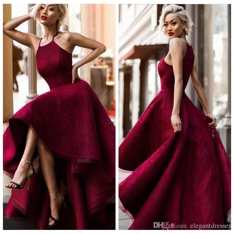 Halter A-Line Burgundy High Low Lace Prom Dresses 2018 Short Full Lace Custom Formal Special Occasion Party Gowns Special Occasion Gowns